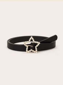 Faux Pearl Decor Star Shaped Buckle Belt
