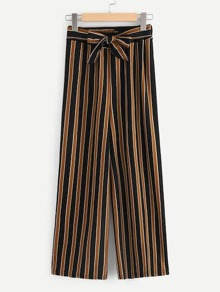 Plus Wide Leg Striped Belted Pants