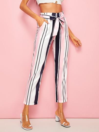 aaccf705bc Pantalones con cinturón de rayas