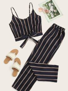 Striped Knot Front Cami Top With Pants