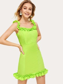 Neon Lime Frill Shirred Side Dress