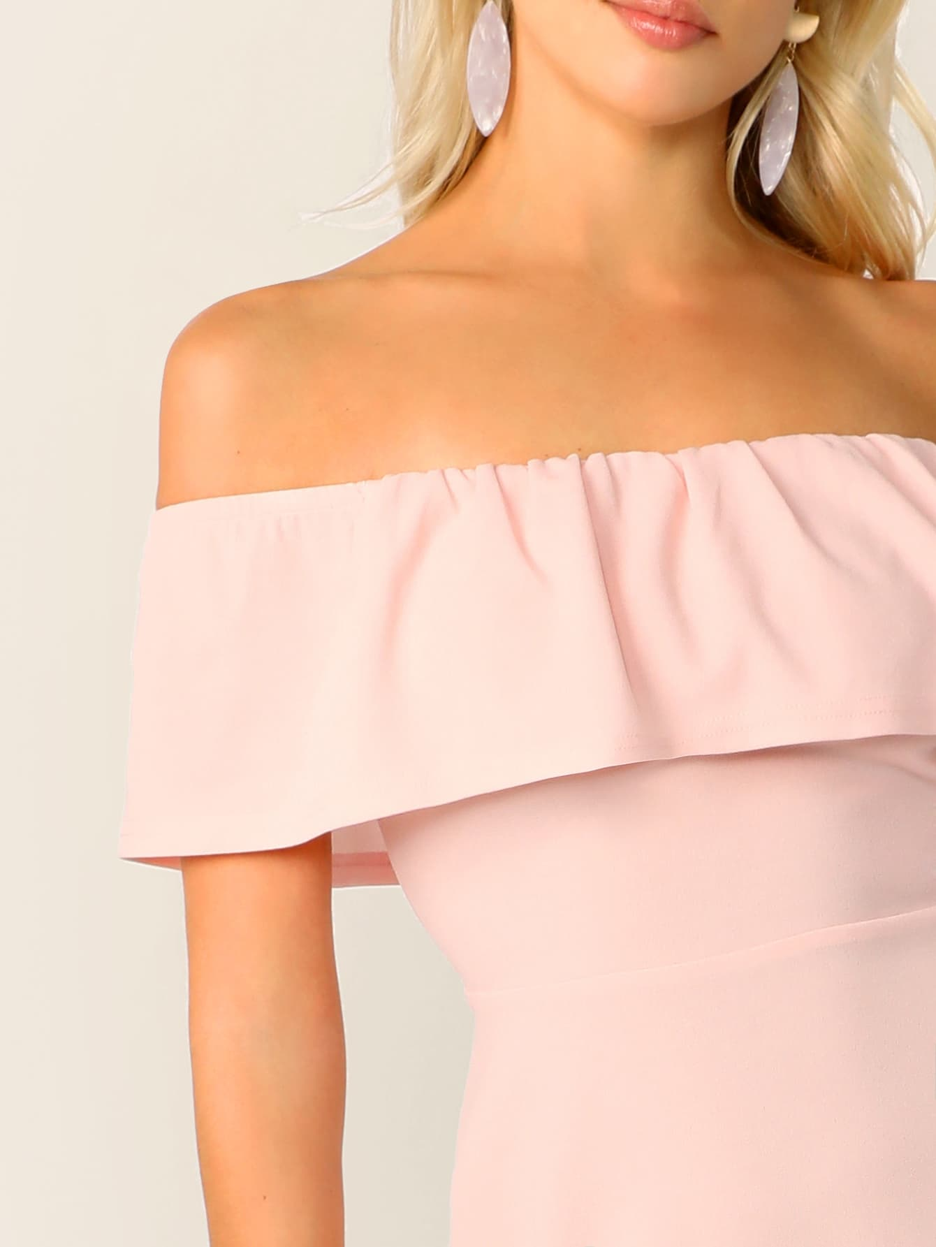 037bed6a Solid Ruffle Trim Asymmetrical Hem Bardot Dress | SHEIN UK