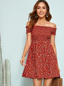 Off Shoulder Frilled Trim Ditsy Floral Smocked Dress
