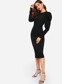 Button Detail Leg-of-mutton Sleeve Split Pencil Dress