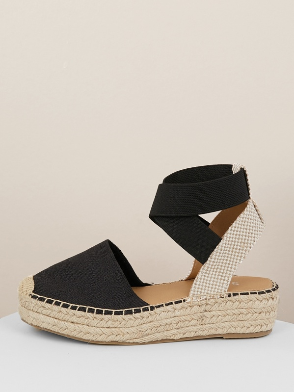4b01834d330 Elastic Straps Jute Wrapped Flatform Sandals