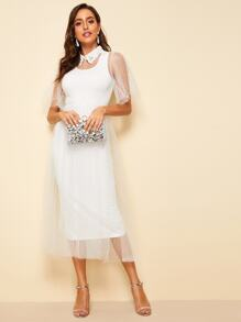 Embroidered Collar Flutter Sleeve Dobby Mesh Overlay Dress