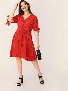 Plus Button Front Knot Cuff Belted Flare Dress