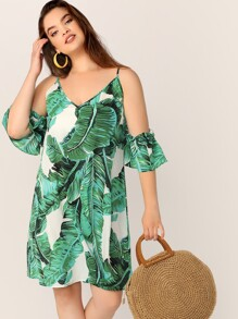 Plus Tropical Print Cold Shoulder Tunic Dress