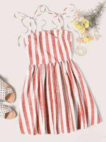 Self Tie Shoulder Striped Dress