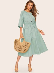 Raglan Sleeve Drawstring Waist Pocket Front Dress