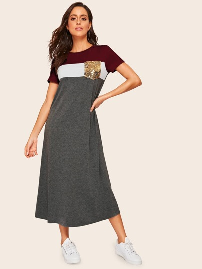 Sequin Pocket Patched Heathered Knit Dress