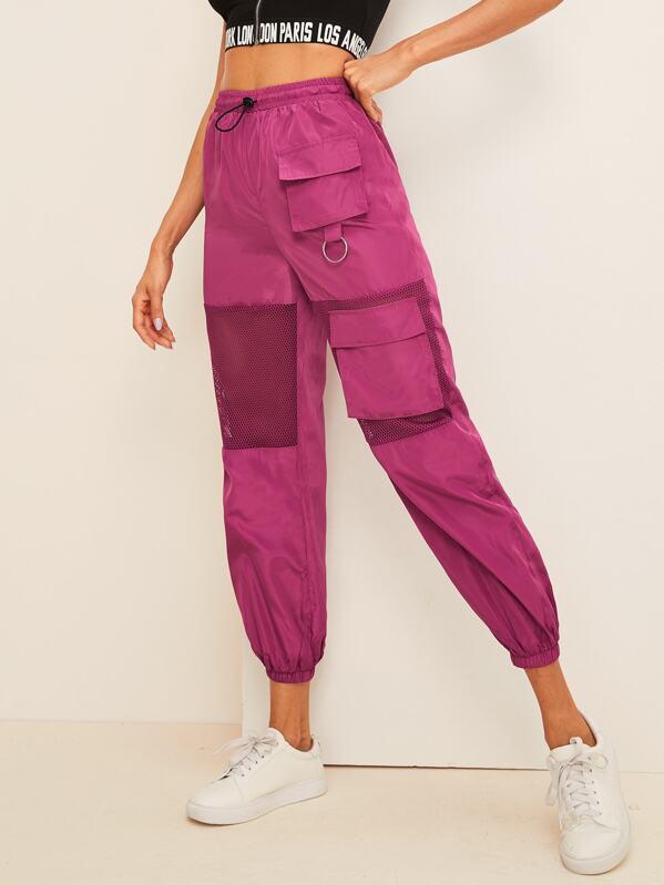 Mesh Insert Pocket Patched Drawstring Wind Pants