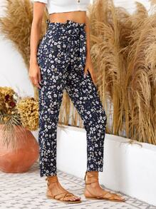Paperbag Waist Ditsy Floral Belted Pants