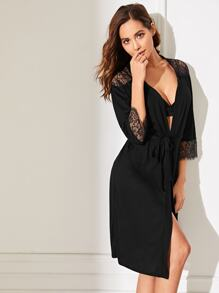 Floral Lace Self Belted Robe