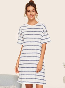 Knot Detail Striped Night Dress