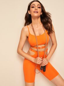 Neon Orange Push Buckle Cami Top & Cycling Shorts Set