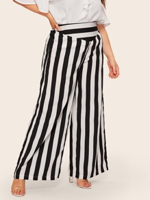 Plus Black And White Striped Wide Leg Pant