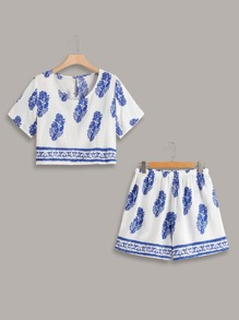 Plus Leaf Print Top With Shorts