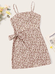 Plus Knot Side Calico Cami Dress