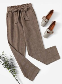 Frill Waist Plaid Pants