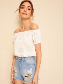 Frill Trim Bardot Schiffy Crop Top