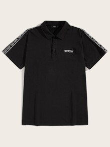 Men Lettering Tape Sleeve Embroidery Polo Shirt