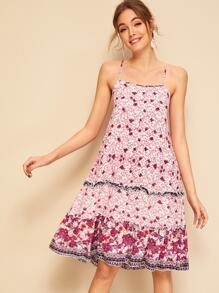 Ditsy Floral Criss-cross Back Slip Sundress