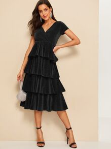 Surplice Wrap Layered Ruffle Glitter Dress