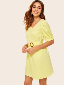 Puff Sleeve Tunic Dress With Buckle Belt