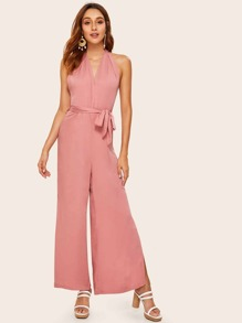 Slit Hem Backless Belted Maxi Halter Jumpsuit