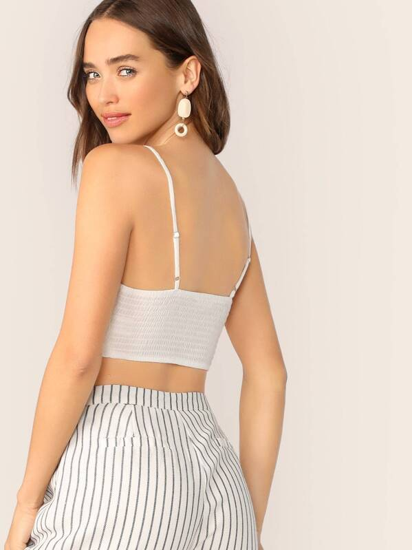 68a8645acc8b3f Lace Up Pleated Sleeveless Smocked Back Crop Top | SHEIN