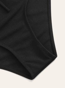 ad33de690d Plus Ribbed Lace-up Bandeau With High Waist Bikini | SHEIN