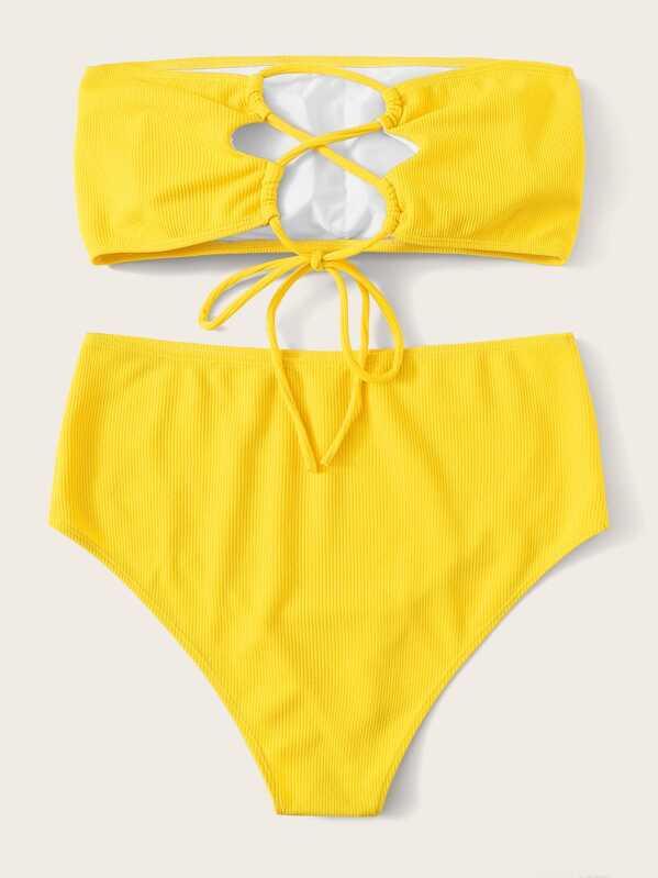 a8737165e3 Plus Ribbed Lace-up Bandeau With High Waist Bikini | SHEIN UK