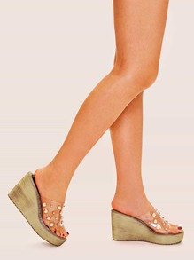 Transparent Pearl Decor Wedges