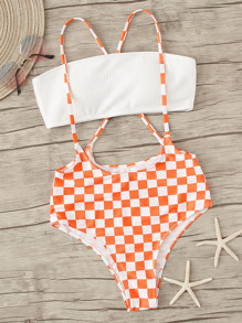 Bandeau Top With Checkered Suspender Two Piece Swim