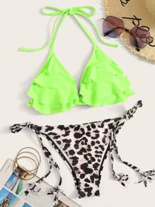 Neon Lime Layered Ruffle Top With Tanga Bikini