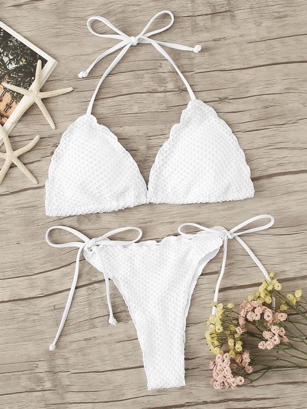 7d35d2c1e287 Set de bikini top halter ribete en forma de lechuga con cuerda