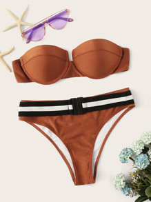 Underwired Top With Striped Buckle Panty Bikini