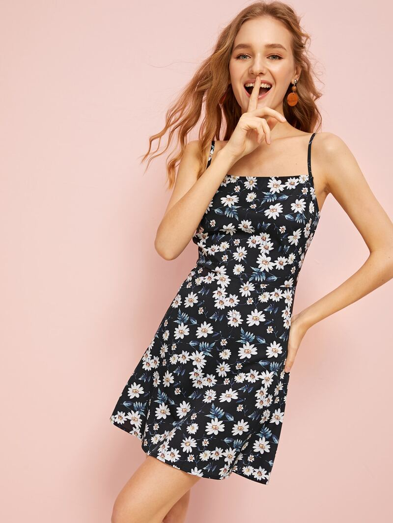 3c3e2a30812dc Allover Floral Print Fit & Flare Cami Dress