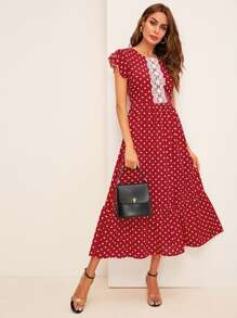 Polka Dot Print Contrast Lace Midi Dress