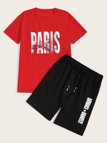c0fb093c2d Guys Raglan Sleeve Flamingo & Tropical Print Top & Shorts Set | ROMWE
