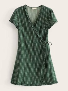 Polka Dot Knot Side Wrap Dress