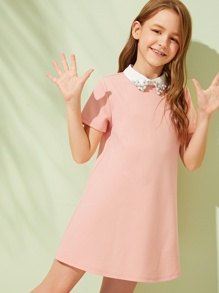 Girls Contrast Collar With Beaded Detail Tunic Dress