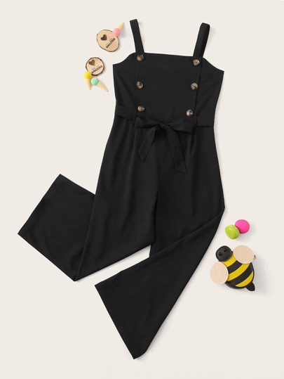 Girls Double Button Belted Tank Jumpsuit
