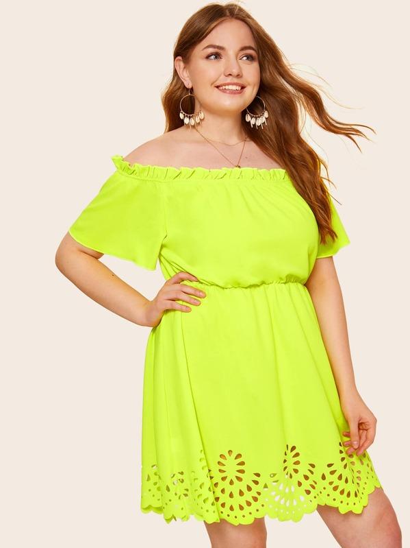 Plus Neon Lime Laser Cut Scalloped Off Shoulder Dress | SHEIN