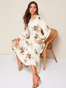 Floral Ruffle Hem Fit & Flare Dress