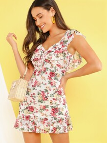 Ruched Knot Front Ruffle Detail Floral Dress