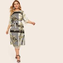 Plus Tassel Trim Animal Scarf Print Belted Tunic Dress