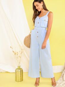 Button Front Flap Pocket Belted Wide Leg jumpsuit