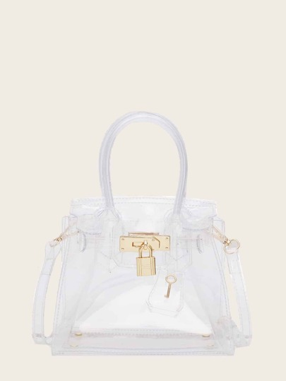 Metal Lock Decor Clear Satchel Bag